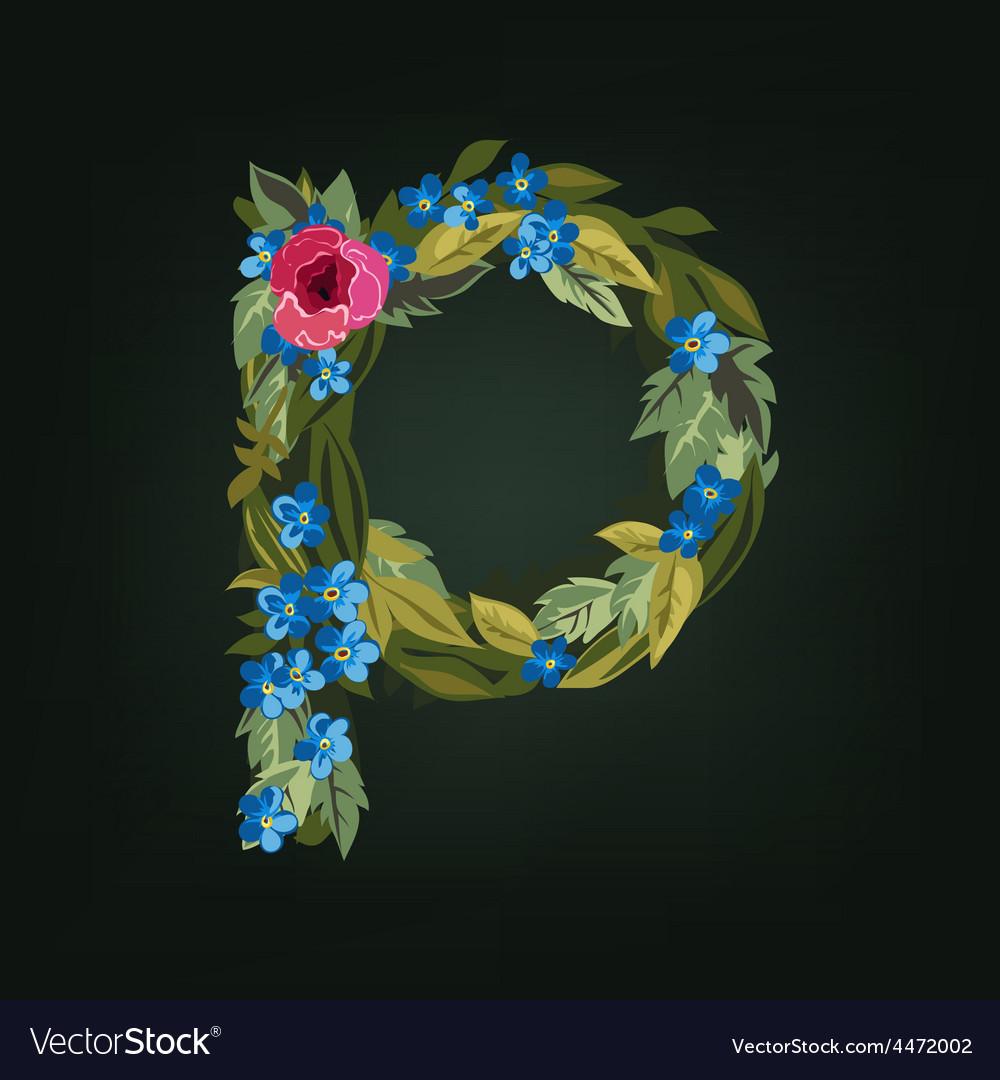 P letter flower alphabet colorful font vector   Price: 1 Credit (USD $1)