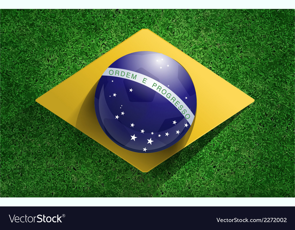Soccer ball with brazilian flag on soccer field vector | Price: 1 Credit (USD $1)