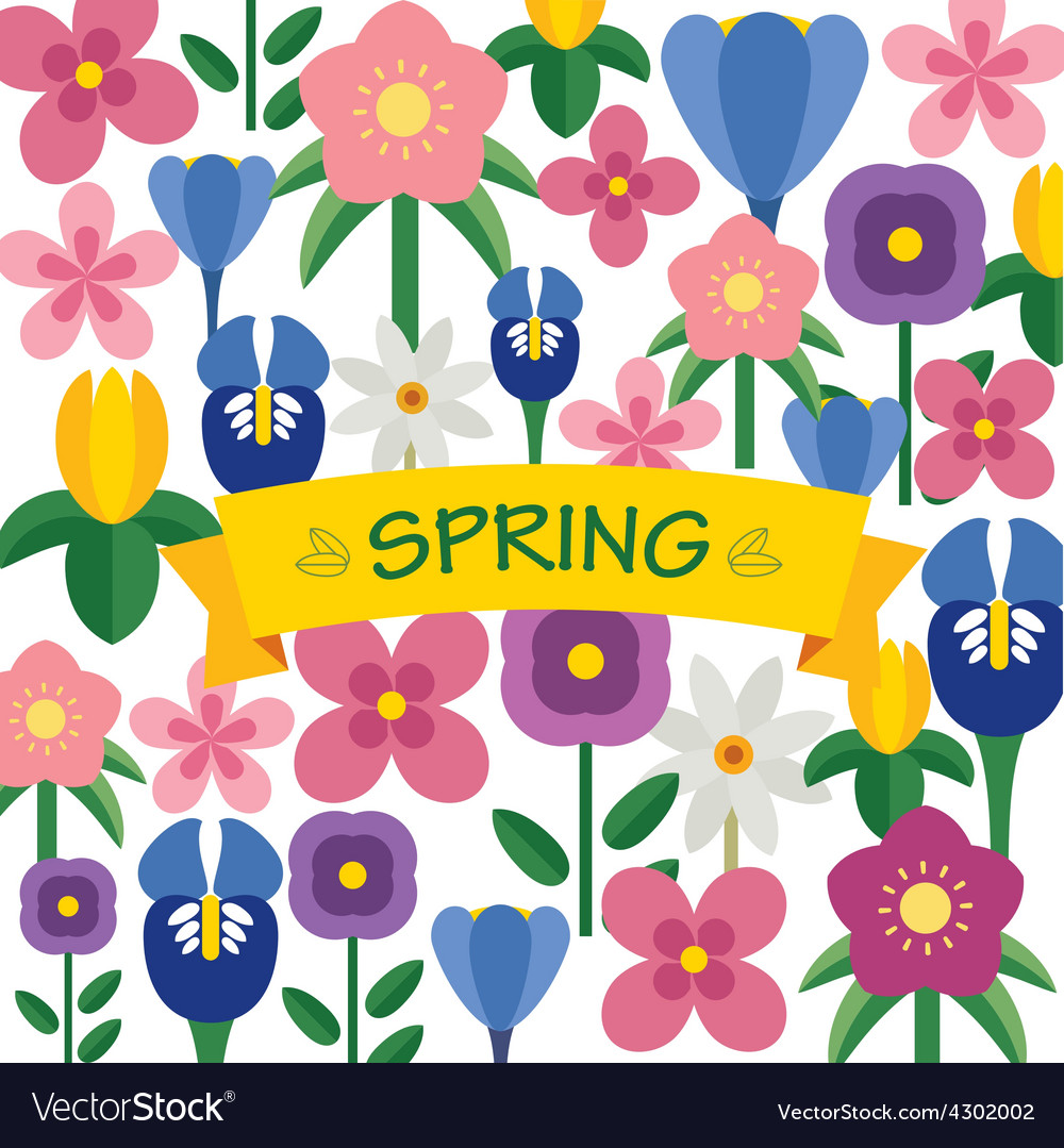 Spring flower background flat design vector | Price: 1 Credit (USD $1)