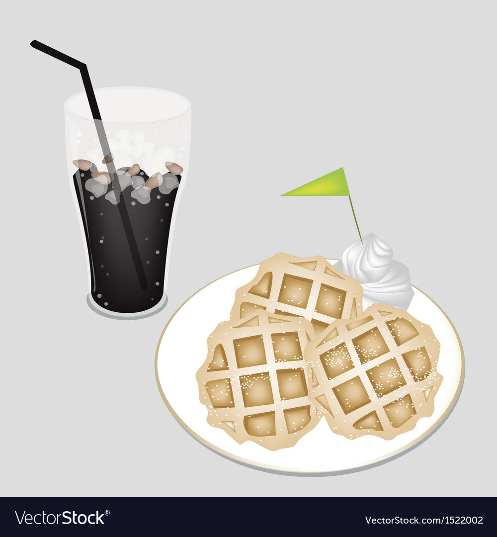 Sweet black iced coffee with tradition waffle vector | Price: 1 Credit (USD $1)