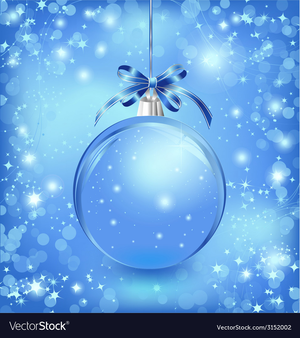 Xmas glass blue ball with snow inside and bow vector | Price: 1 Credit (USD $1)