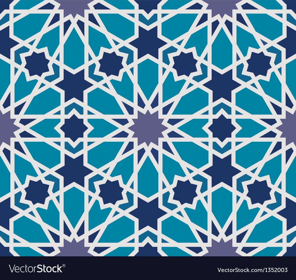 Arabesque seamless pattern in blue and grey vector | Price: 1 Credit (USD $1)
