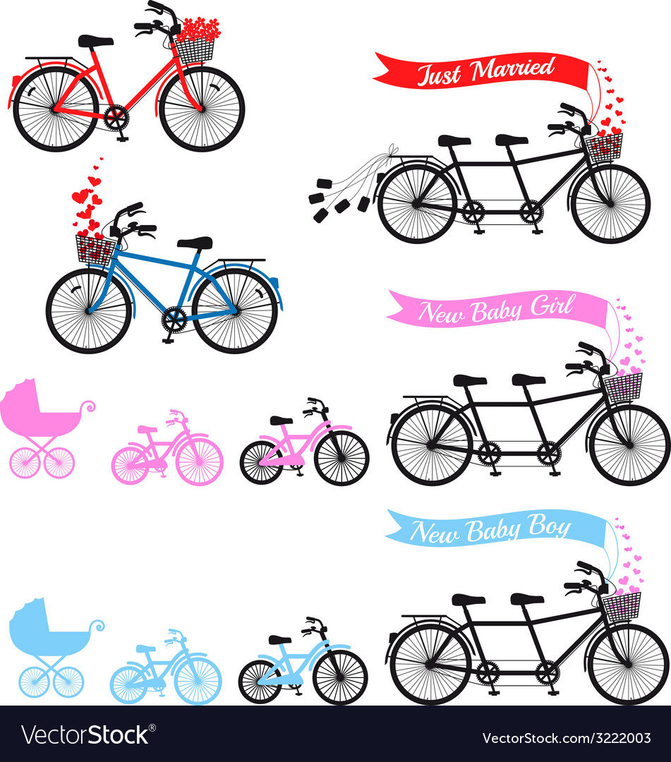 Baby shower with tandem bicycle set vector | Price: 1 Credit (USD $1)