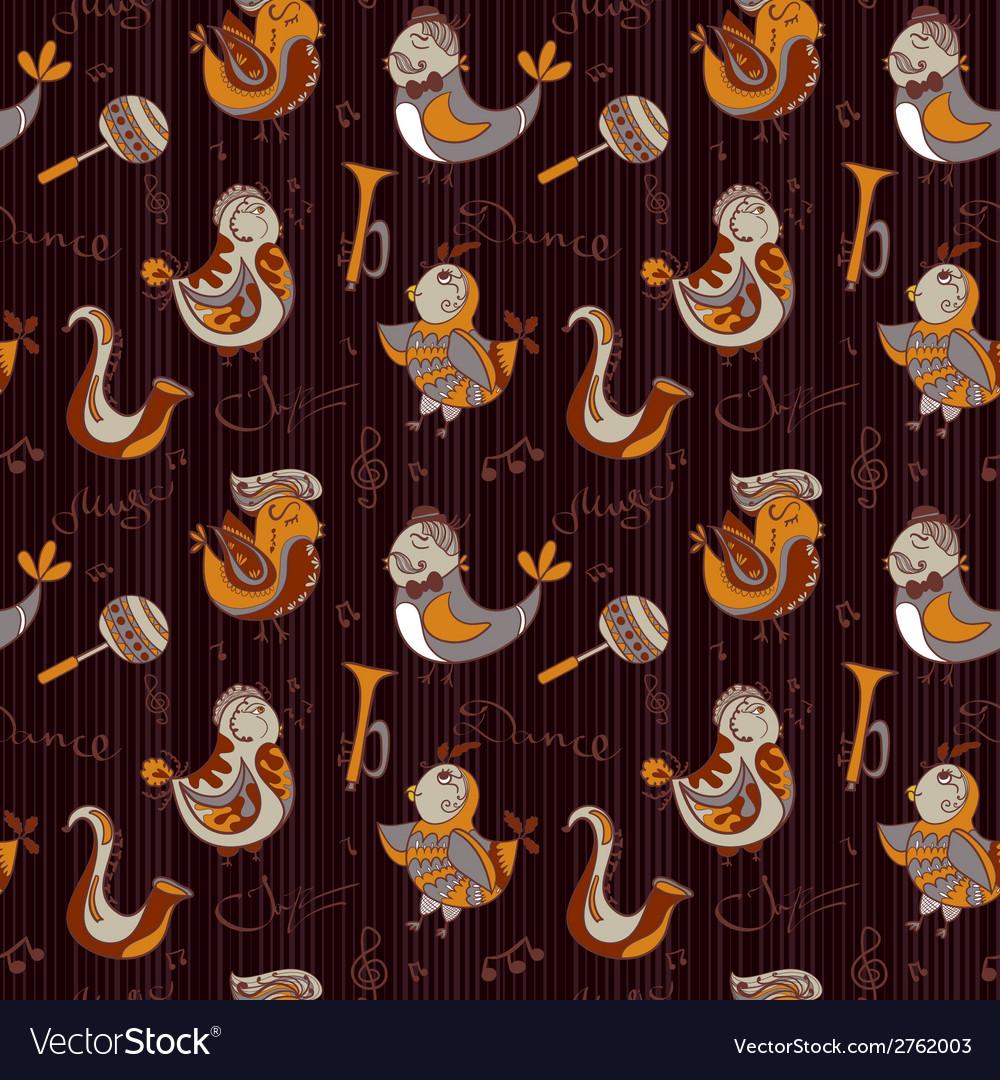 Cartoon jazz orchestra concept wallpaper birds vector | Price: 1 Credit (USD $1)