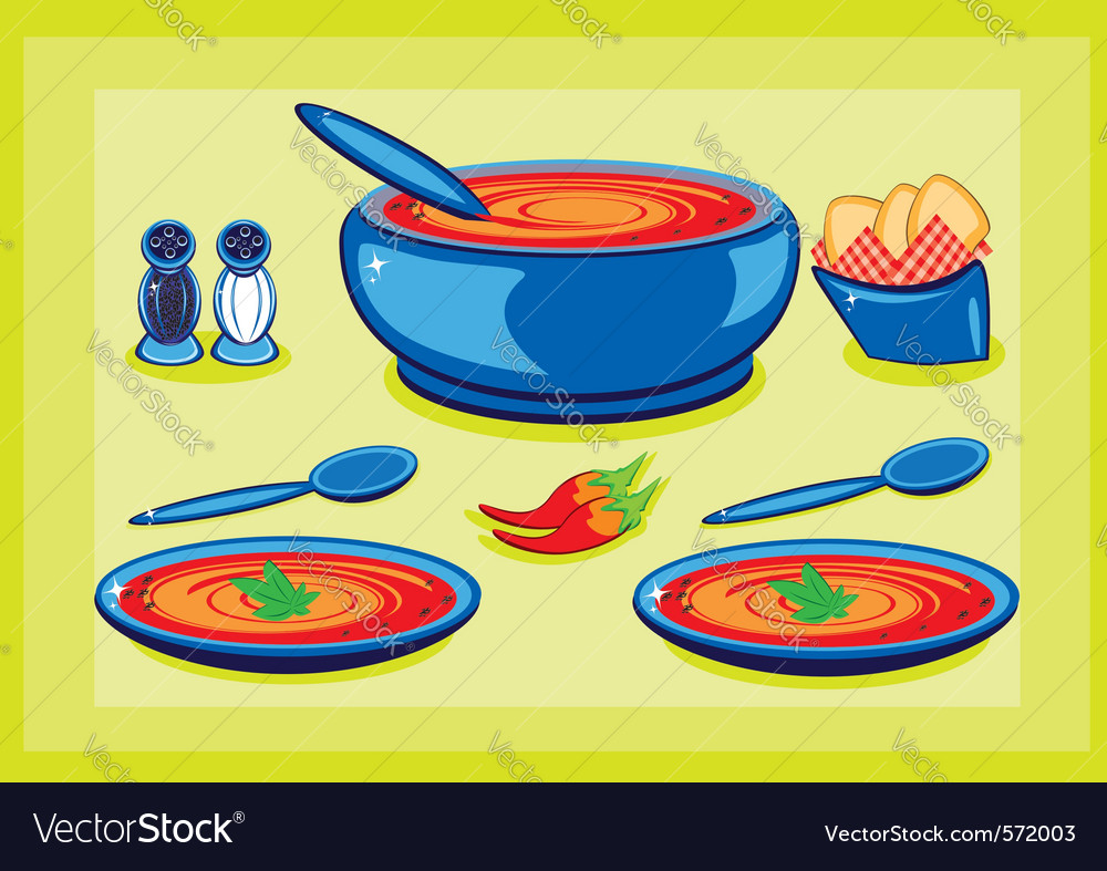 Cooking pot and plates vector | Price: 1 Credit (USD $1)