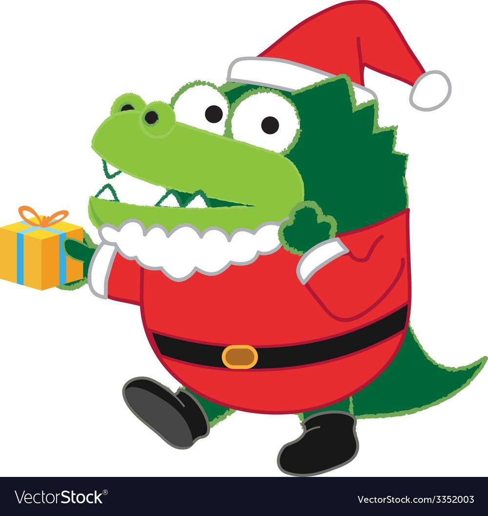 Crocodile santa vector   Price: 1 Credit (USD $1)