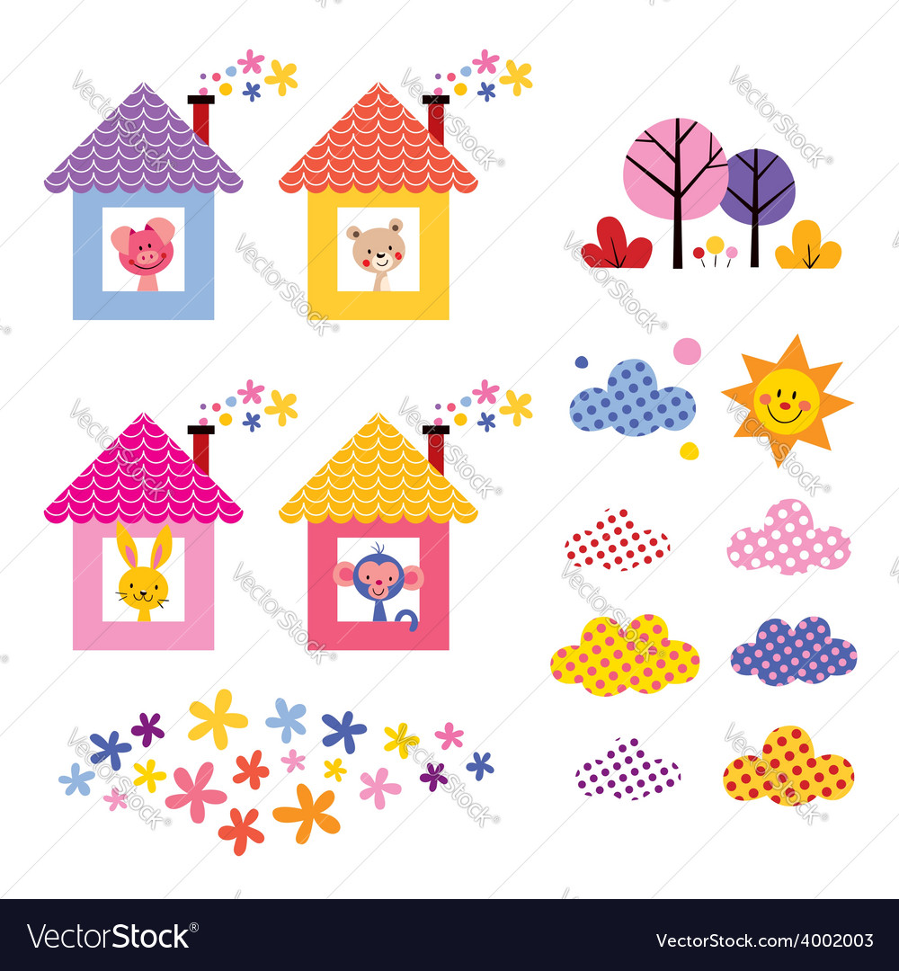 Cute animals in houses kids design elements set vector | Price: 1 Credit (USD $1)