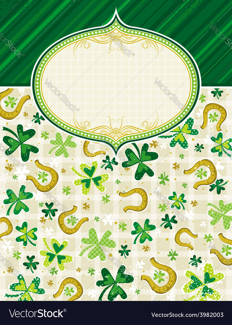 Green background with shamrock and horseshoes vector | Price: 1 Credit (USD $1)