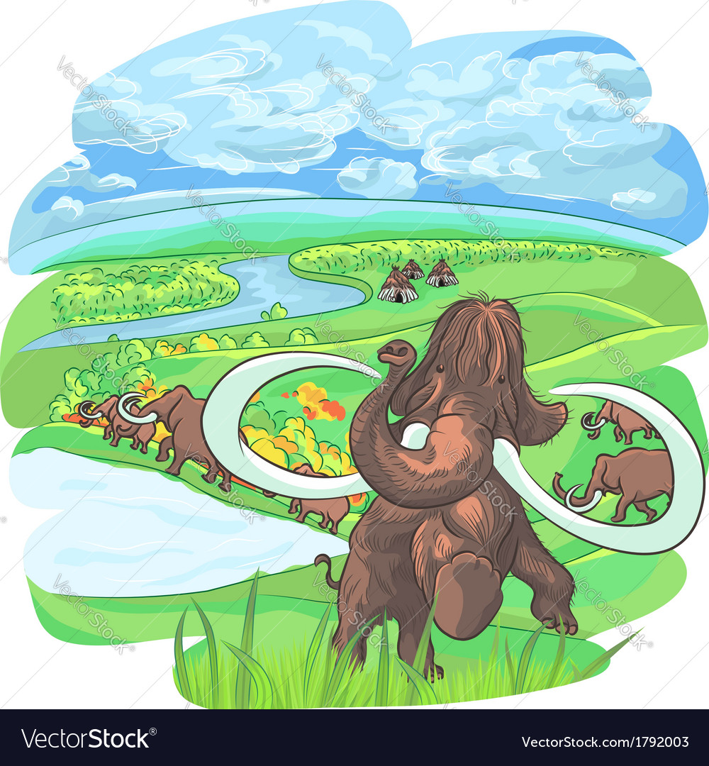 Herd of mammoths on the plains vector | Price: 1 Credit (USD $1)