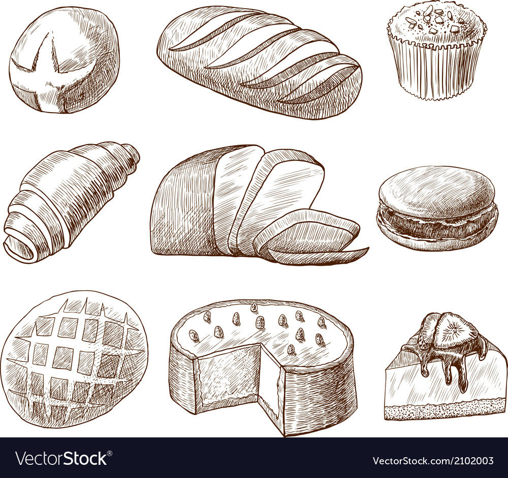 Pastry and bread decorative icons set vector | Price: 1 Credit (USD $1)