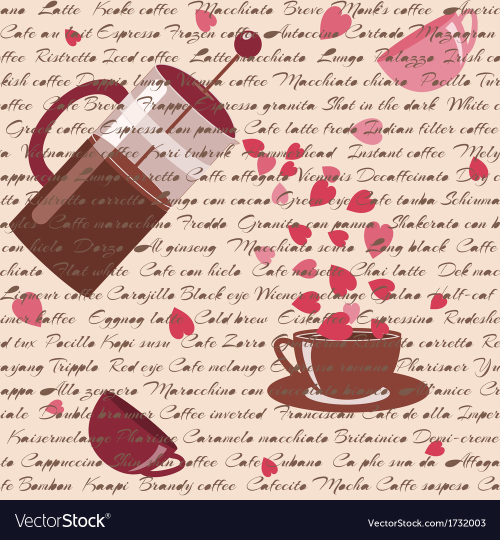 Seamless pattern with coffee and hearts vector | Price: 1 Credit (USD $1)
