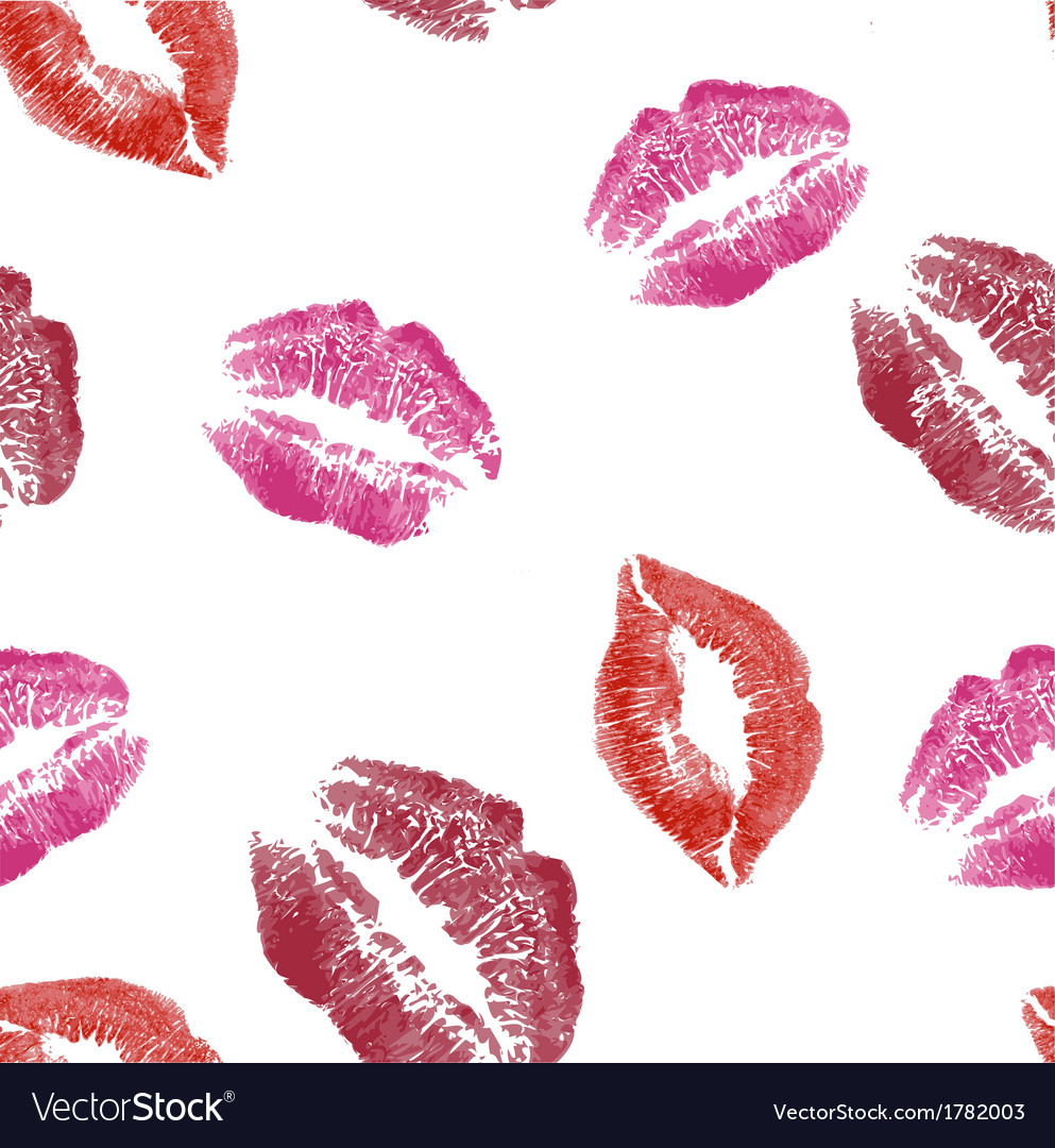 Seamless pattern with lips imprints vector | Price: 1 Credit (USD $1)