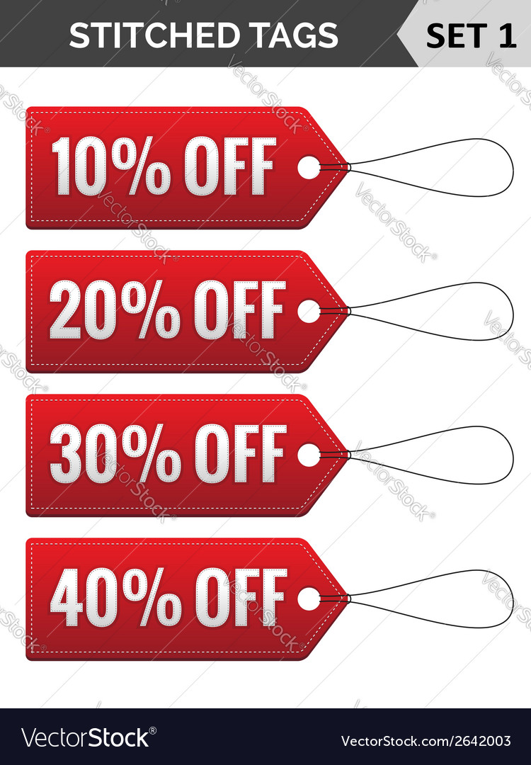 Stitched tags set 1 vector   Price: 1 Credit (USD $1)