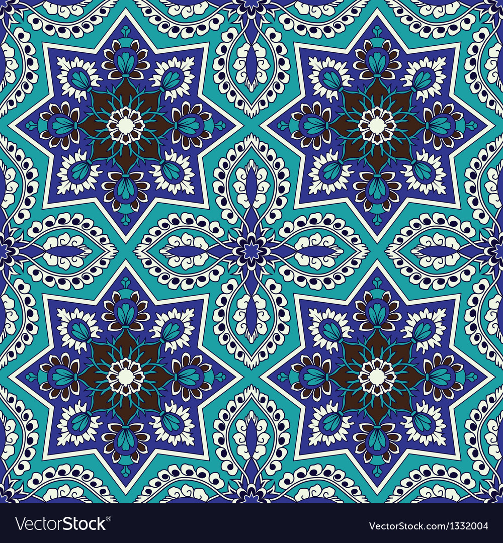 Arabesque seamless pattern in blue and turquoise vector | Price: 1 Credit (USD $1)