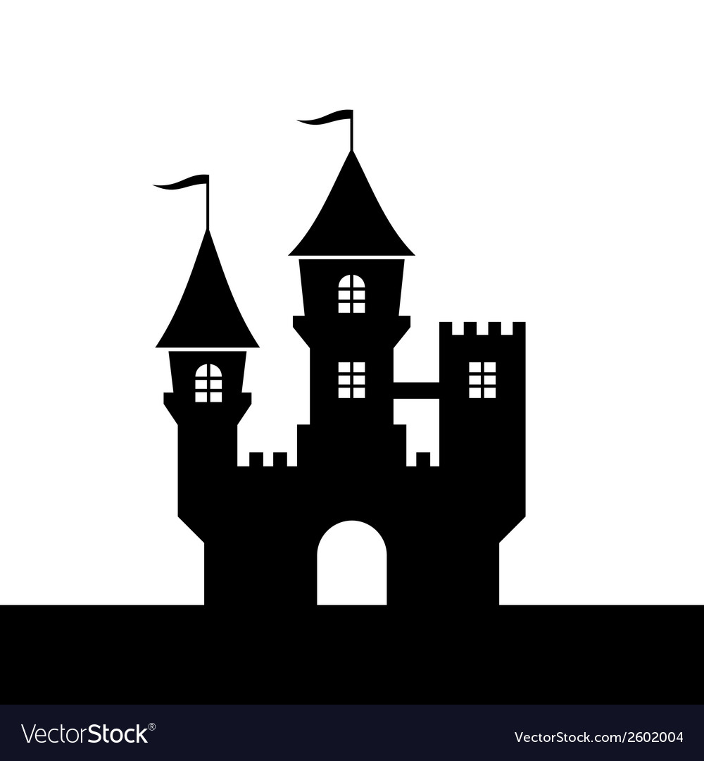 Castle silhouette icon on white background vector | Price: 1 Credit (USD $1)