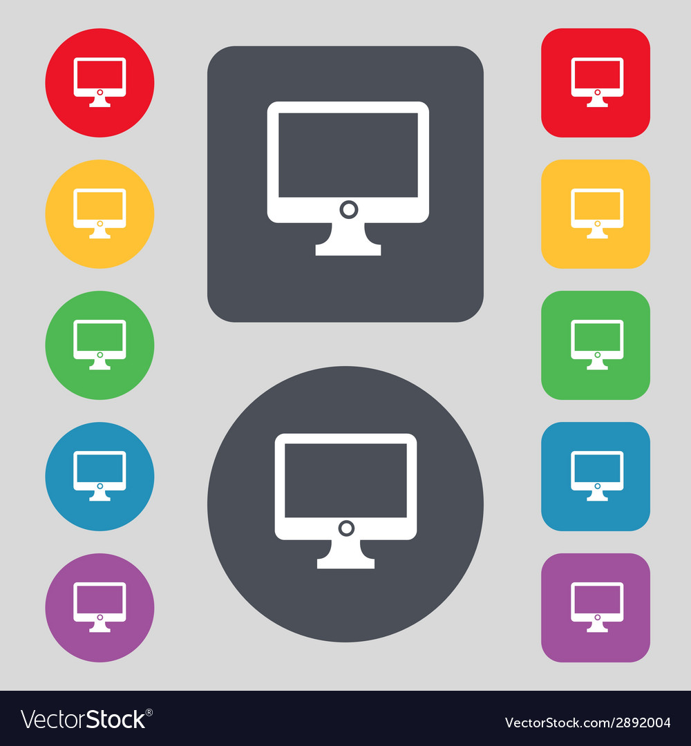 Computer widescreen monitor sign icon set colur vector | Price: 1 Credit (USD $1)