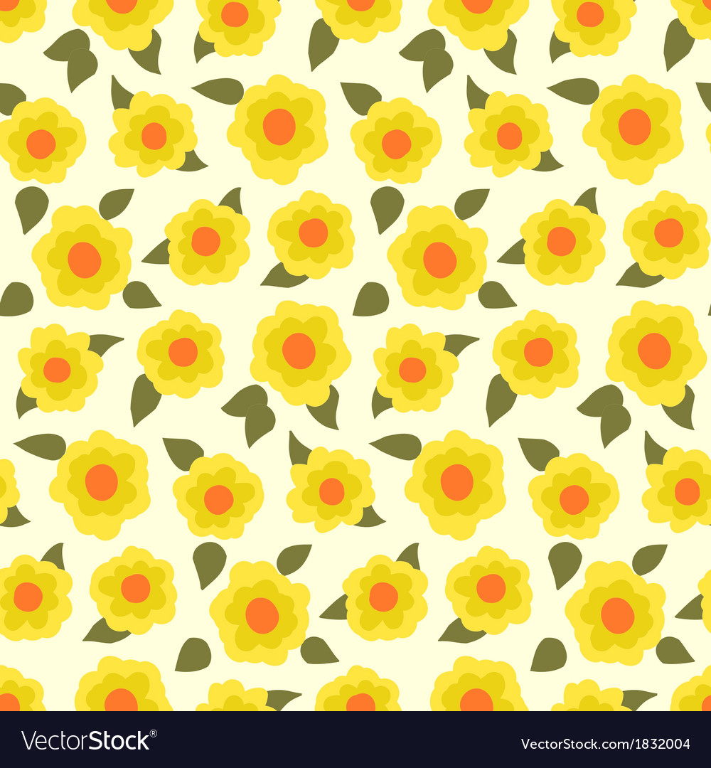 Ditsy floral pattern with small daffodils vector | Price: 1 Credit (USD $1)