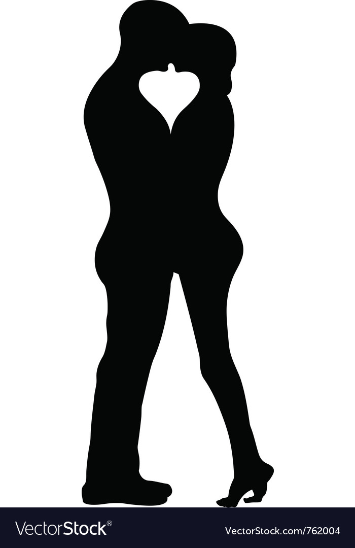 Kissing couple silhouette vector | Price: 1 Credit (USD $1)