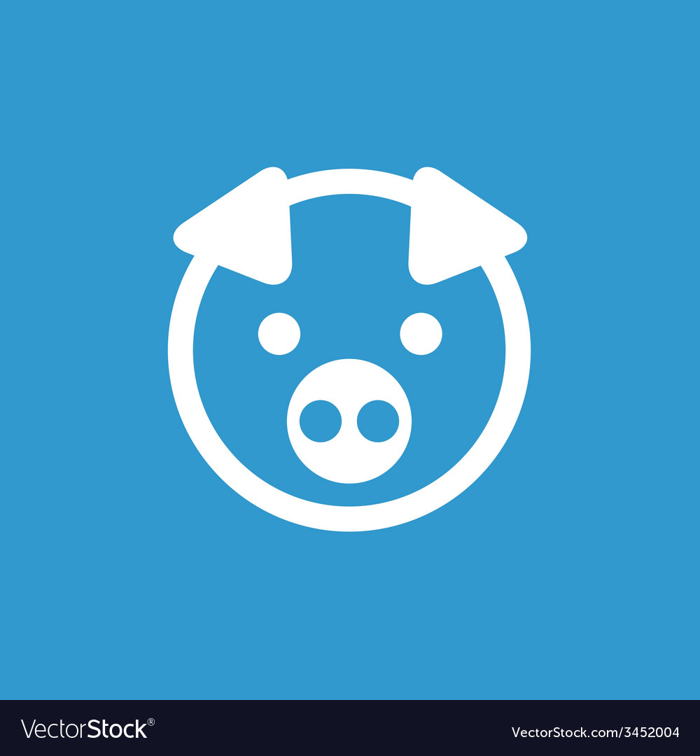 Pig icon white on the blue background vector | Price: 1 Credit (USD $1)