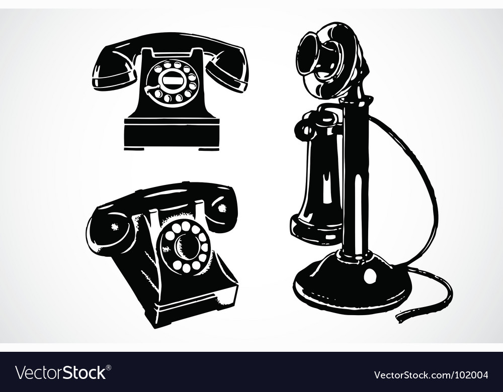 Retro phone icons vector | Price: 1 Credit (USD $1)