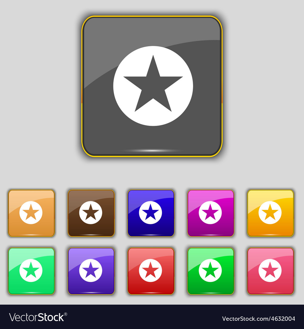 Star favorite icon sign set with eleven colored vector | Price: 1 Credit (USD $1)