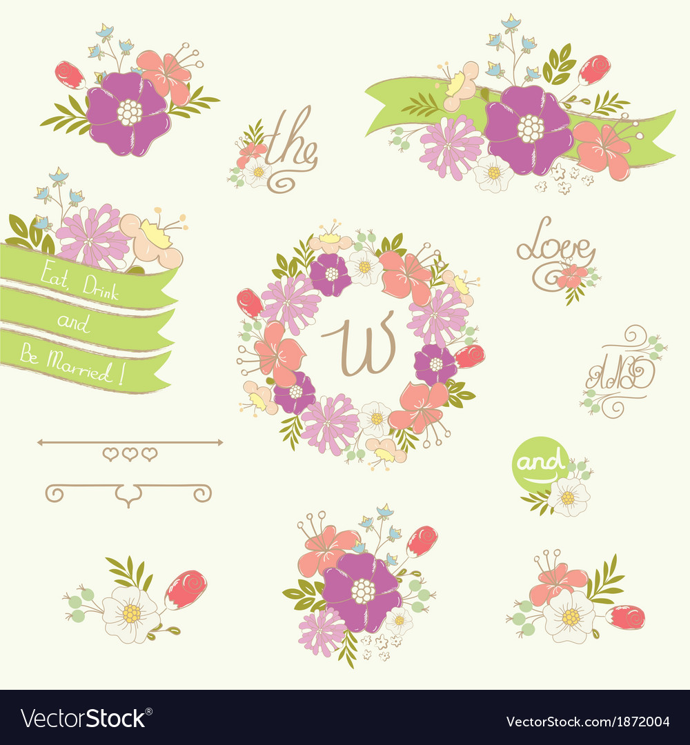 Wedding floral elements vector | Price: 1 Credit (USD $1)