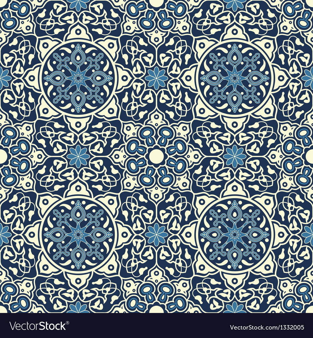 Arabesque seamless pattern in blue vector | Price: 1 Credit (USD $1)