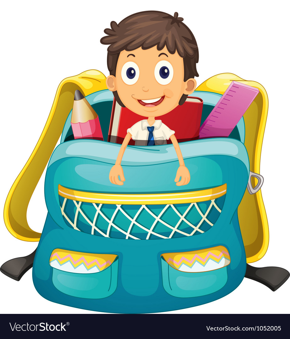Boy in bag vector | Price: 3 Credit (USD $3)