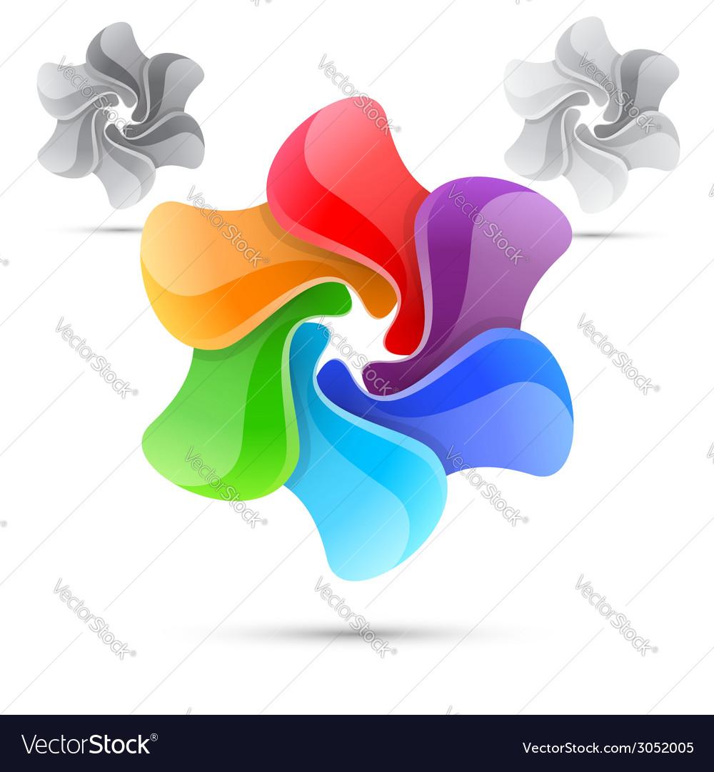 Colorful bright rainbow windmill design template vector | Price: 1 Credit (USD $1)