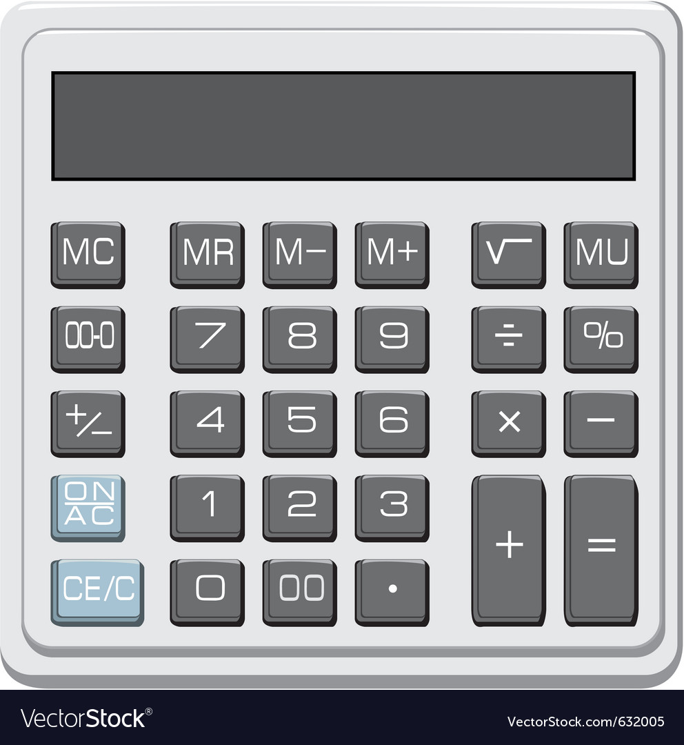 Desktop office calculator with lcd display vector | Price: 1 Credit (USD $1)
