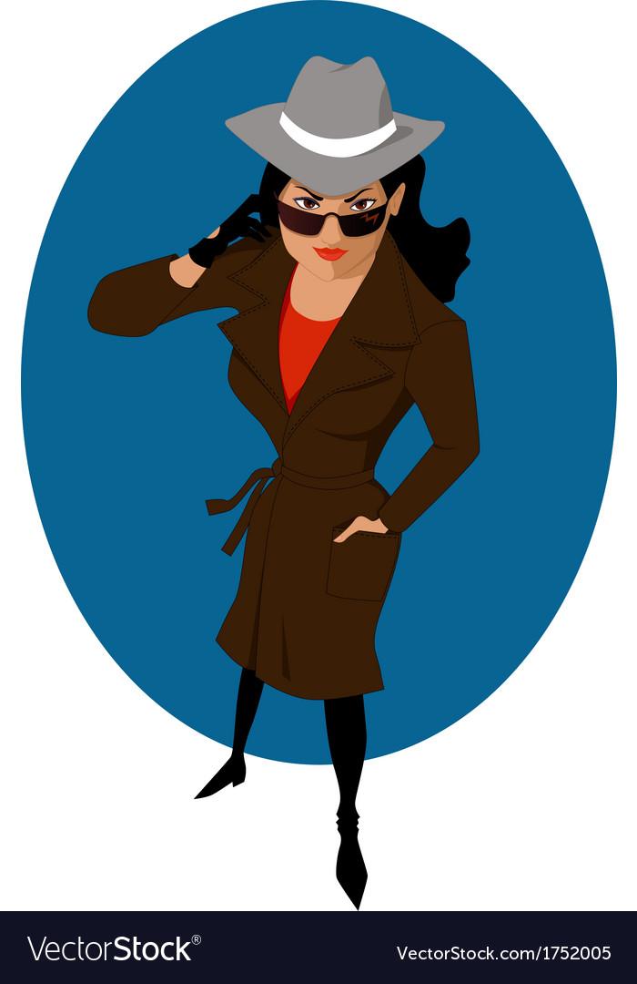 Female secret agent or private detective vector | Price: 1 Credit (USD $1)