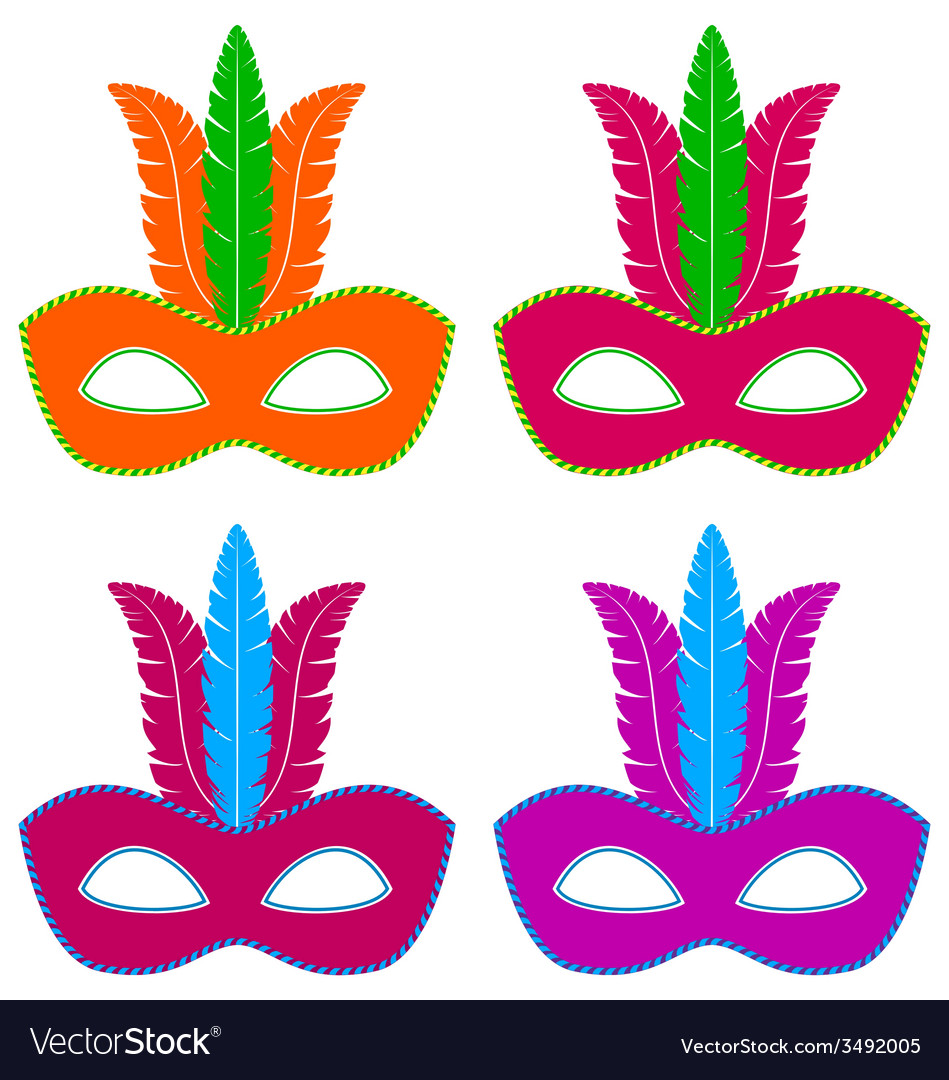 Flat masks with feathers vector | Price: 1 Credit (USD $1)