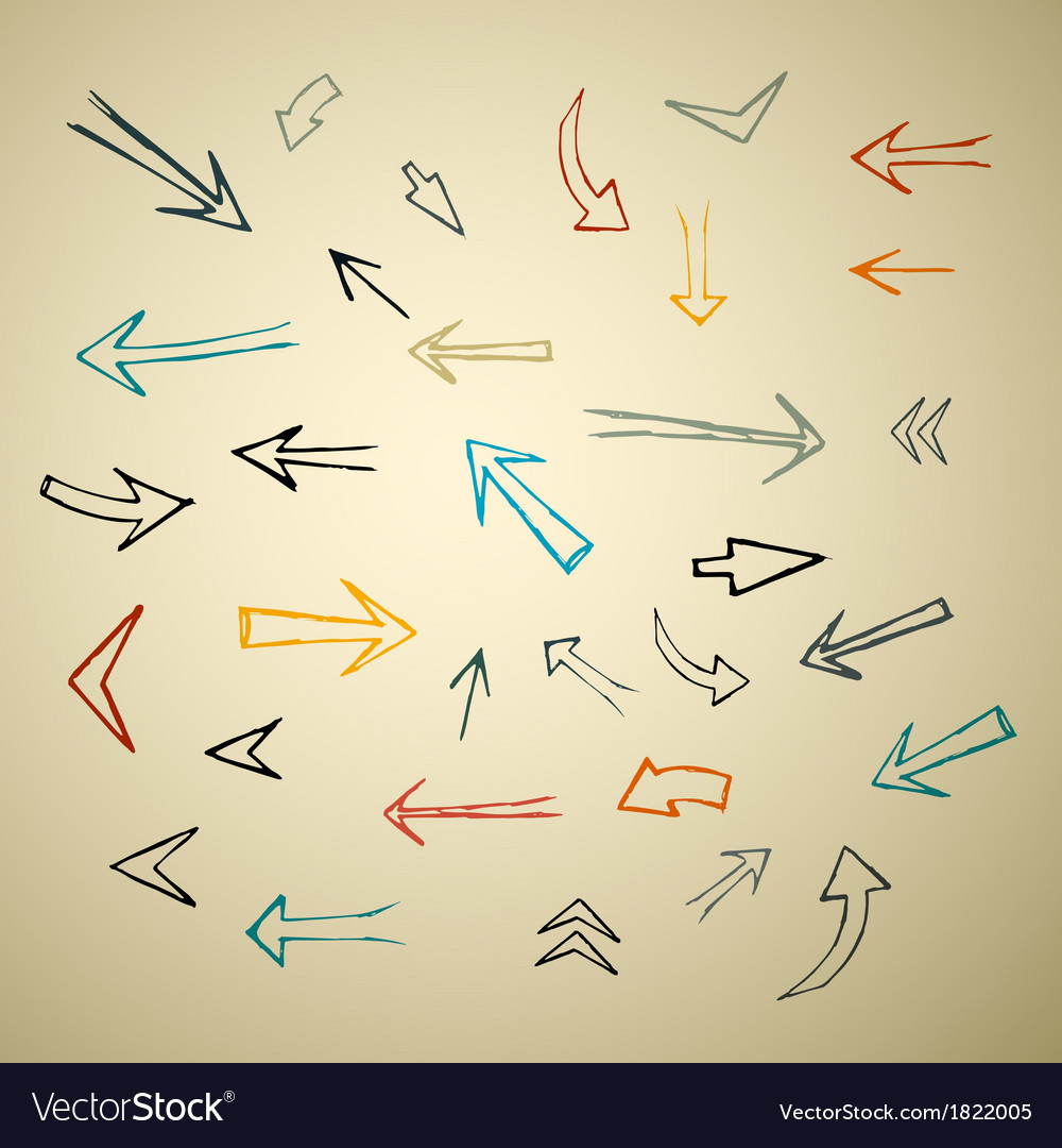 Hand drawn arrows set on recycled paper vector | Price: 1 Credit (USD $1)