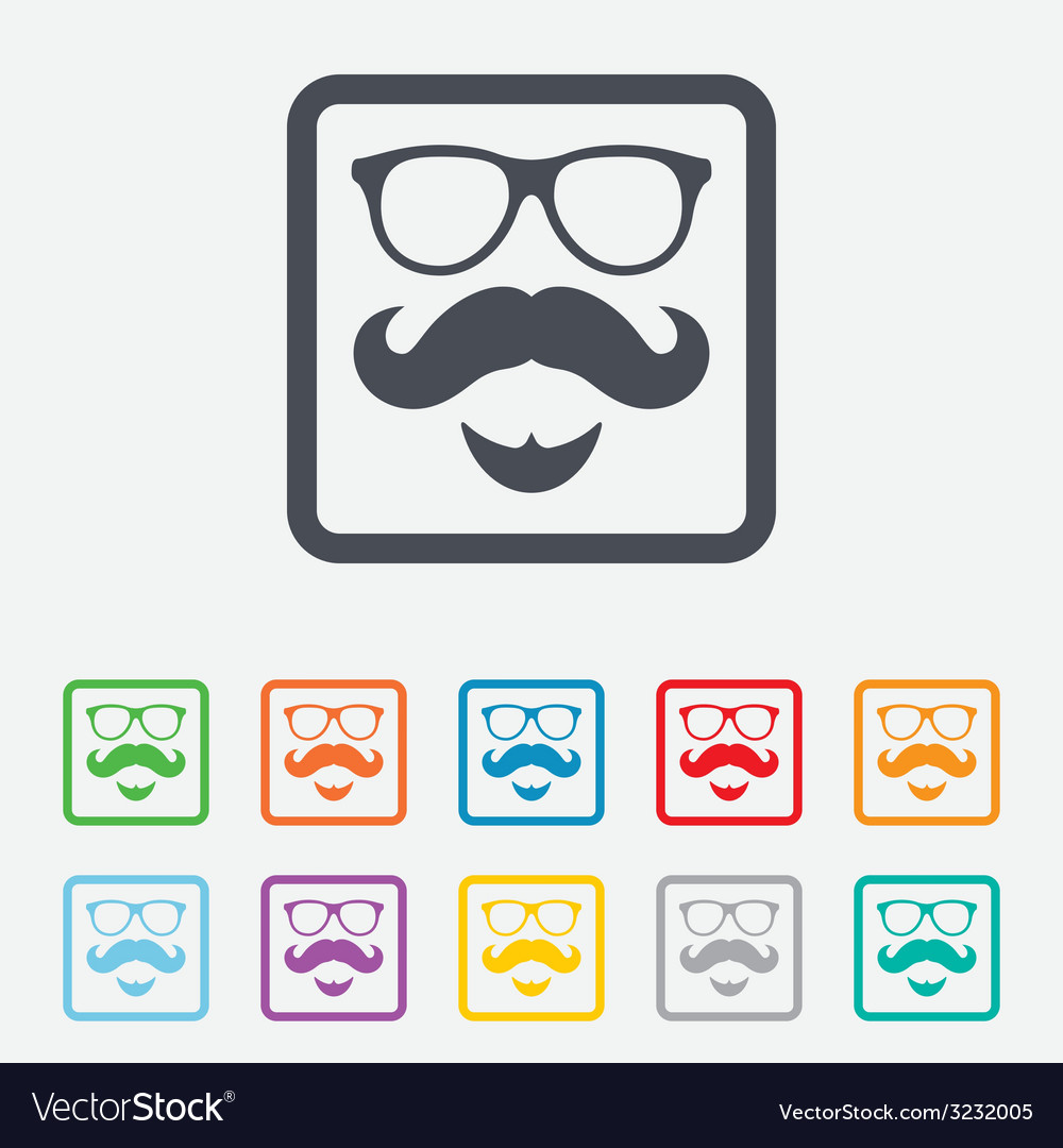 Mustache and glasses sign icon hipster symbol vector | Price: 1 Credit (USD $1)
