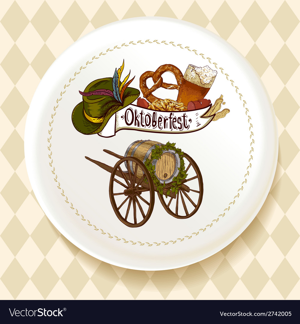 Oktoberfest beer set on a white plate vector | Price: 1 Credit (USD $1)