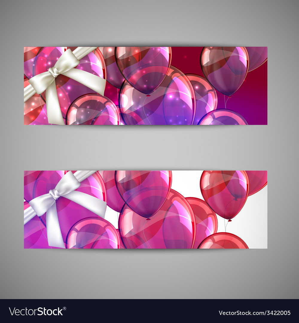 Set of holiday banners with multicolored balloons vector | Price: 1 Credit (USD $1)