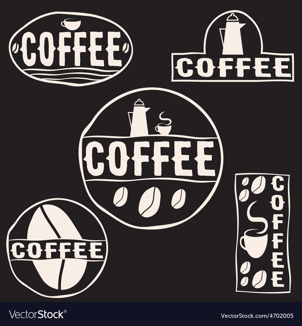 Set of vintage retro coffee labels vector | Price: 1 Credit (USD $1)