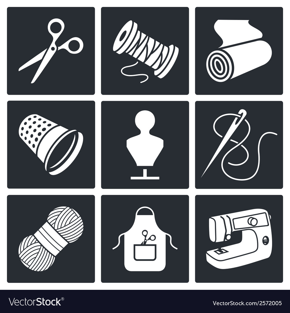 Sewing clothing manufacture icon collection vector | Price: 1 Credit (USD $1)