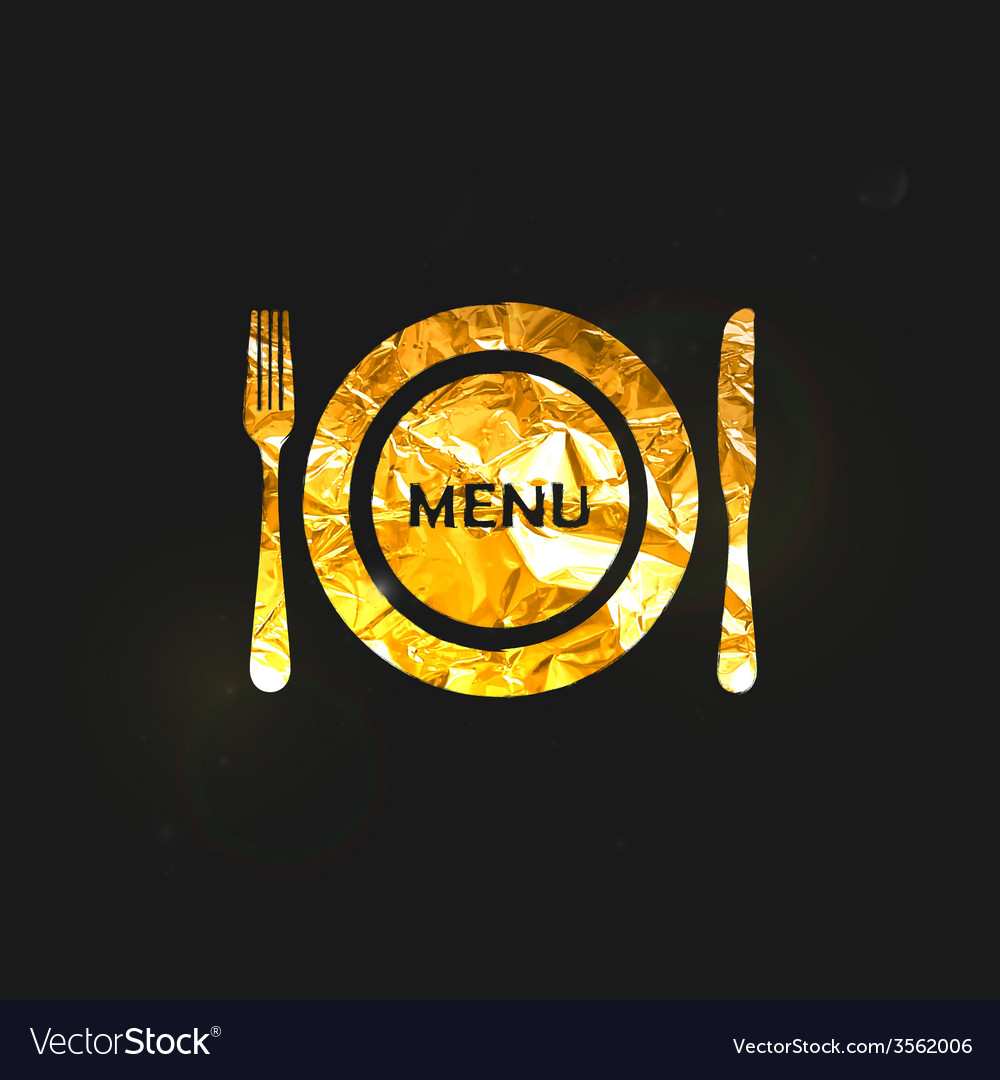 A golden metallic foil plate and cutlery vector | Price: 1 Credit (USD $1)
