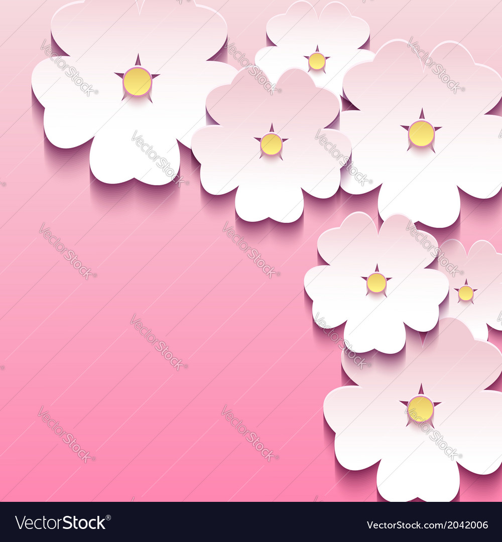 Abstract floral pink background with 3d flowers vector | Price: 1 Credit (USD $1)