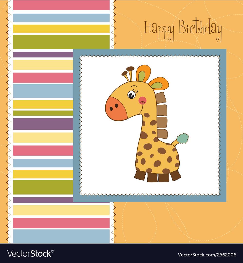Birthday card with giraffe toy vector | Price: 1 Credit (USD $1)