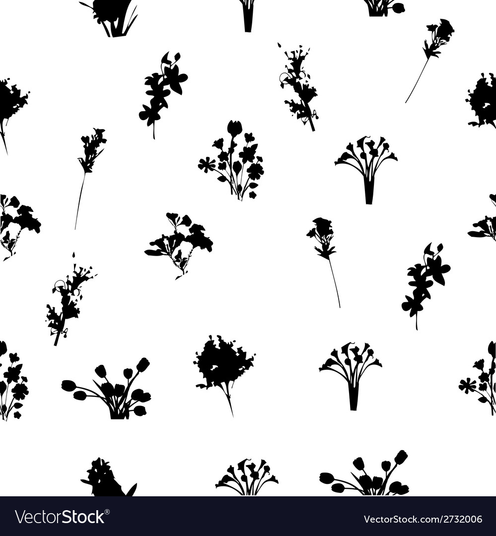 Black and white florals seamless pattern vector | Price: 1 Credit (USD $1)