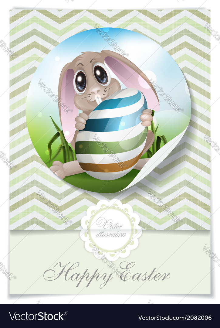 Easter bunny with colorful egg vector | Price: 1 Credit (USD $1)