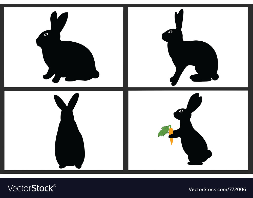 Easter rabbit set vector | Price: 1 Credit (USD $1)