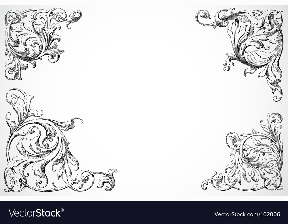 Floral swirl corners vector | Price: 1 Credit (USD $1)