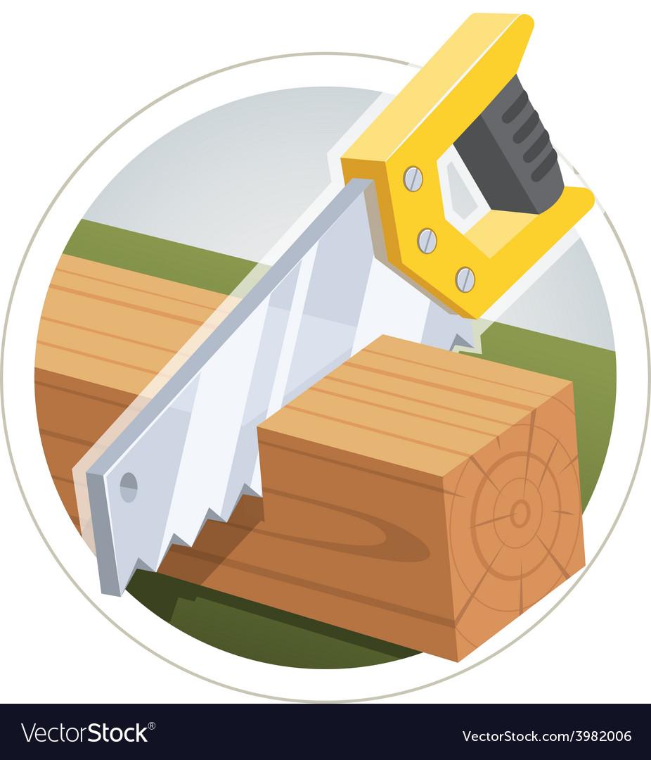 Hacksaw cut wooden board vector | Price: 3 Credit (USD $3)