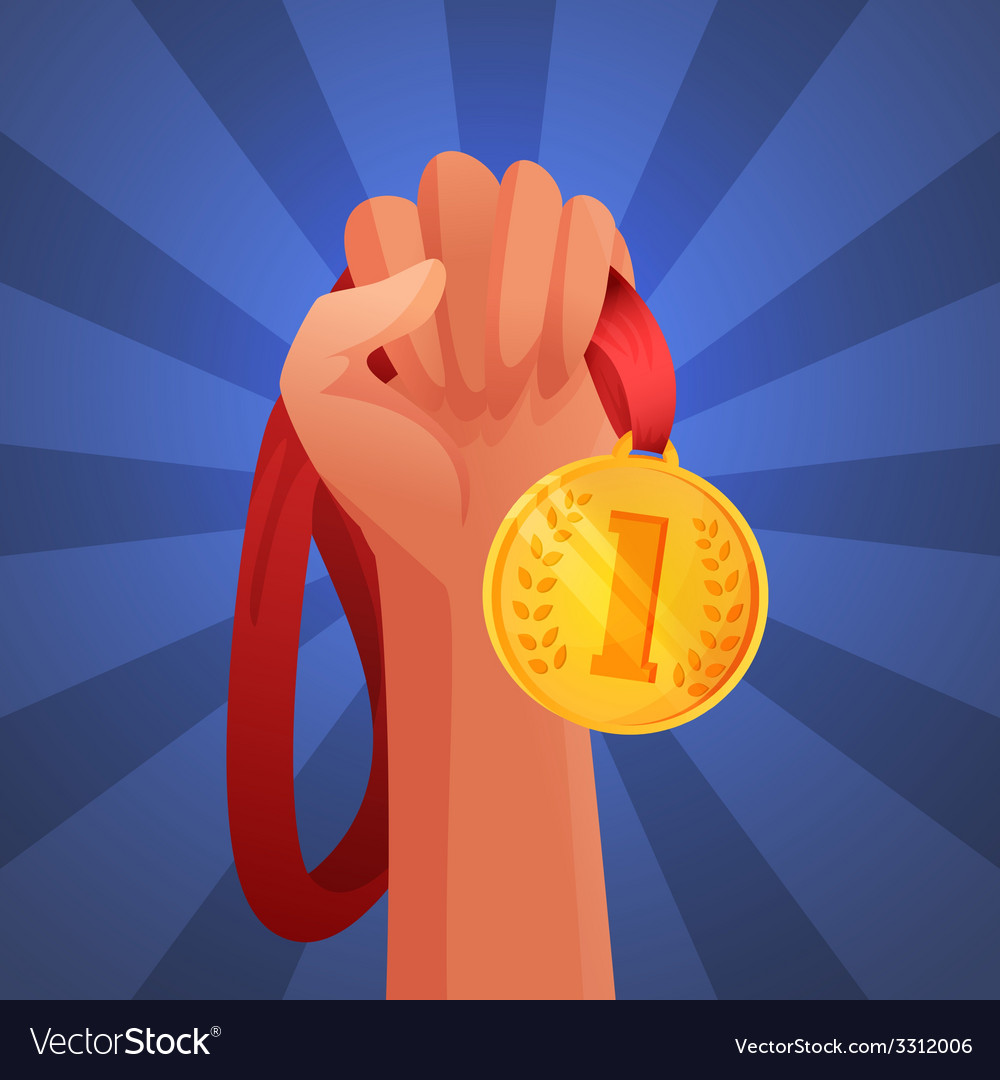 Hand holding medal vector | Price: 1 Credit (USD $1)