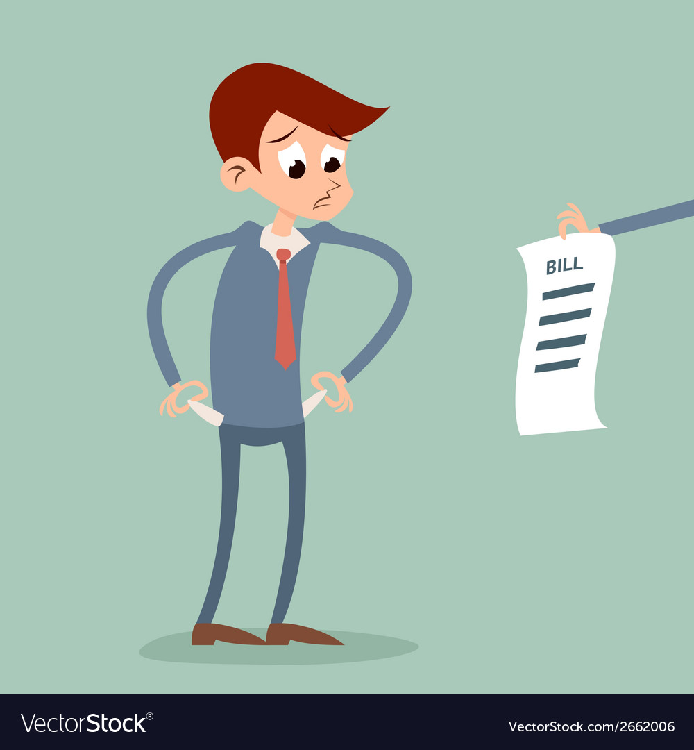 Out of money businessman cartoon character looking vector | Price: 1 Credit (USD $1)