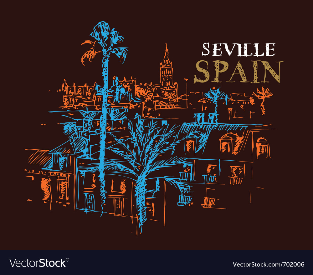 Panorama of the giralda cathedral in seville spain vector | Price: 1 Credit (USD $1)