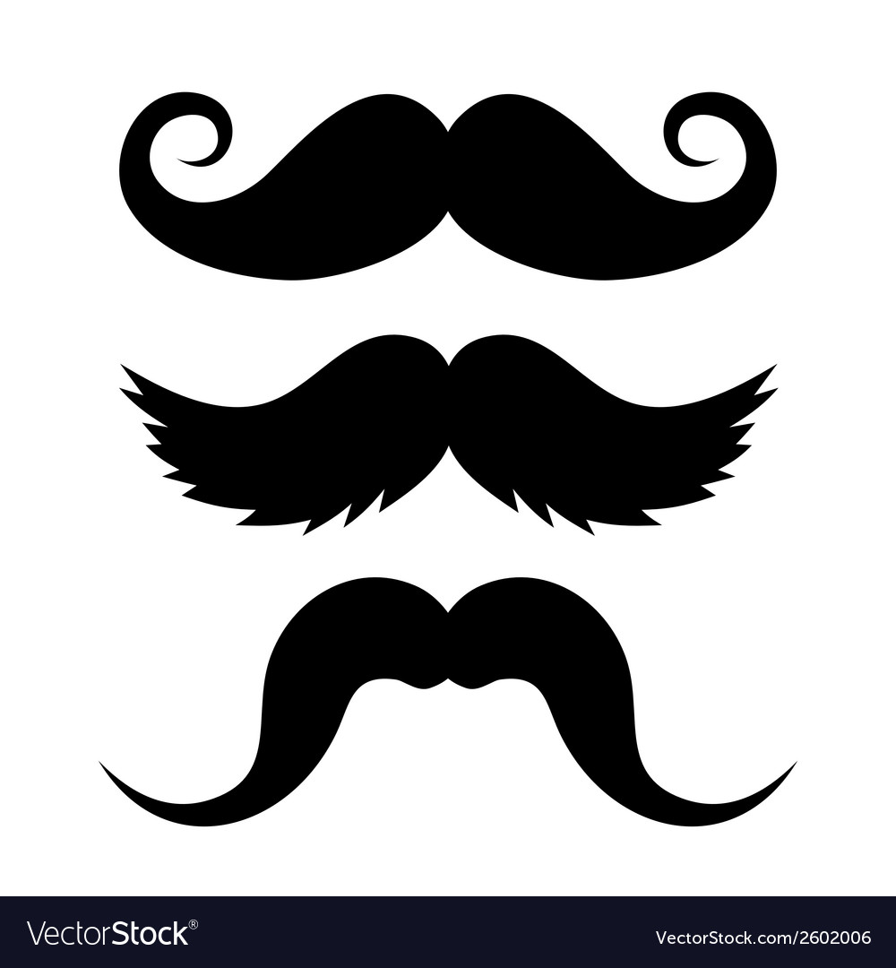 Set of mustache on white background vector | Price: 1 Credit (USD $1)